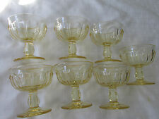 VINTAGE YELLOW DEPRESSION GLASS SEVEN SHERBET GLASSES VGUC