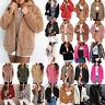 Womens Winter Teddy Bear Fluffy Coat Fleece Fur Warm Jacket Hoodies Outerwear