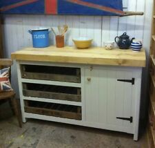 Rustic Wooden Solid Pine Freestanding Open Kitchen Island Unit Cupboard + Trays