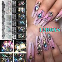 12 Boxes 3D AB Diamond Gems Nails Glitter Rhinestone Crystal Glass Nail Art Tips