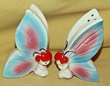 BUTTERFLY SALT PEPPER VINTAGE JAPAN BUTTERFLIES FIGURAL RED HAIR BUGS CERAMIC