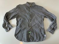 J CREW Men's 2 PLY Black White Checks Long Sleeve Button Front Shirt Size Large