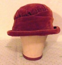 Edwardian/ 20s Rust Velvet CLOCHE Hat