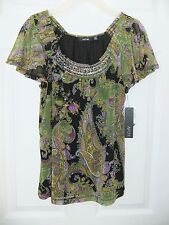 APT. 9 Size PXS Petite XS Marta Green Print Smocked Layered Blouse Top NWT