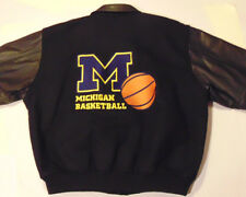 VTG 1999 MICHIGAN BASKETBALL JACKET! GOLDEN BEAR USA! WOOL! LEATHER SLEEVES 2XL