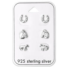 Sterling Silver 3 Pairs Lot Horse Lovers Horse Shoe Kids Stud Earrings 2401