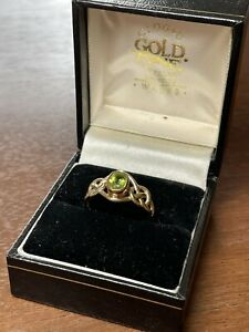 Beautiful 9ct Clogau Welsh Gold Peridot Ring - Size P - 1992 CD Hallmark Rare