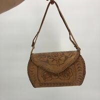 Vintage Camel Tan Leather Purse Hand Tooled Made in Mexico Handbag