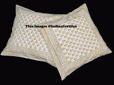 Block Print Cushion Cover Pillow Indian Set of 2 Cotton Handmade Home Decor New