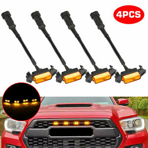 4pcs 4300K Amber Lens Front Grille LED Light For Toyota Tacoma TRD Pro 2016-2020