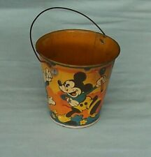 Vintage Happynak Disney Tin Sand Bucket Seaside Pail  No.7 England Mickey Donald