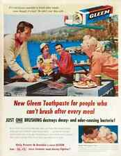 1955 Gleem Toothpaste PRINT AD 1950s Couples Date Grilling Picnic by Lake