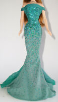 DRESS MATTEL BARBIE DOLL BIRTHSTONE EMERALD FITTED GLITTERY GOWN CLOTHING