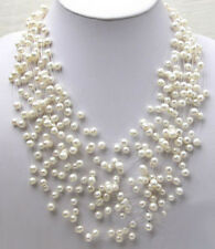 Genuine White Pearl baby's breath cluster stars White Gold Plated Clasp Necklace
