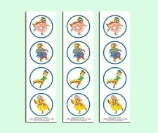 """12 Old Fashioned Victorian Style 2"""" Ice Skating Animal Stickers - Scrapbook Fun!"""