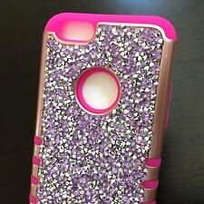 For iPhone 6 / 6S - Hybrid Armor Bling Case Cover Diamond Rhinestone Studs Skin