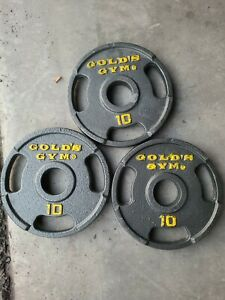 """(3) 10 Lb Golds Gym 2"""" Olympic Grip Weight Plates - 30 lb Total"""