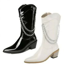Women's Side Zipper Solid Color Rubber Sole Patent Leather Mid-Calf Rider Boots