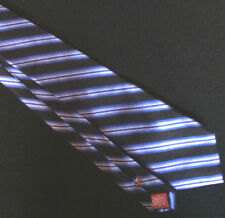 Chaps Mens Necktie Blue Black White Classic Stripe Silk Short Casual Neck Tie