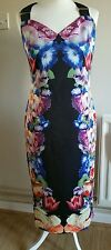 TED BAKER TAPESTRY  FLORAL BUCKLE  DRESS , SIZE T B 4.