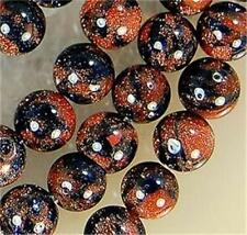 New 6mm Blue Brown Gold Sand Stone Goldstone Round Bead 15""