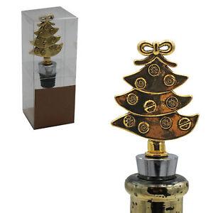 Christmas Character Gold Wine Bottle Stopper Cork - Flat Tree