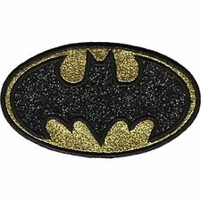 BATMAN LOGO - GLITTER - EMBROIDERED PATCH - BRAND NEW - 0182