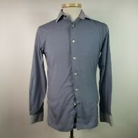 Duchamp Mens 15 x 33/34 Blue Dot Tailored Fit Dress Shirt Made in Italy
