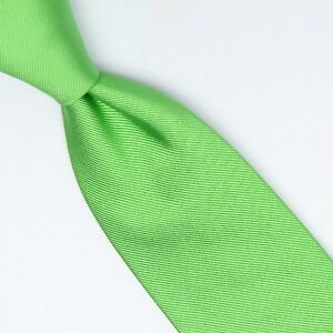 Gladson Mens Silk Necktie Solid Bright Spring Green XL Twill Woven Tie Italy