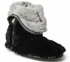 Women's DEARFOAMS Faux Fur Eskimo Ankle Boot Slippers Black ***NEW***