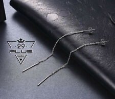 Classic Women's 18K White Gold Filled Long Drop Thread Threader Earrings Gift
