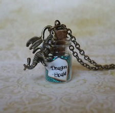 Tur quoise Dragon Scale Necklace Fairy Dust Jewelry Dragon Charm Glass Bottle