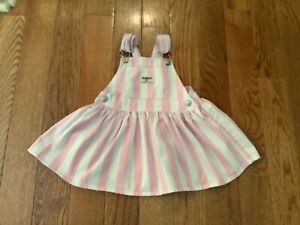 OSHKOSH VESTBAK Girls 2T Pink & White Stripe Adjustable Straps Jumper