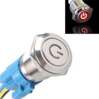 NEU 16mm 12V KFZ Schalter Drucktaster Taster Leistung LED Beleuchtet Rot