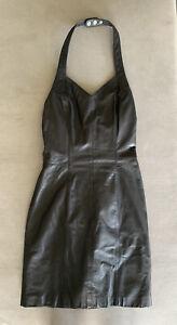 Wilsons Leather Halter Dress Back-Zipper Black Size XS Vintage     AUG2020