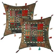 Bohemian Lounge Sofa Cushion Covers 17 x 17 Embroidered Patchwork Pillow Cases