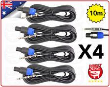 """Speakon To 6.35mm 1/4"""" Male Jack Adaptor Plug. 10 Metre Lead X 4 (FOUR)"""