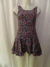 NWT WOMENS PENELOPE INWEAR BLACK MULTI-FLORAL PRINT DRESS W/BACK ZIP-UP SIZE S