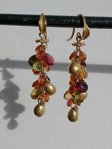 Barbara Heinrich 18k Multicolor Sapphire Briolette Cluster Earrings, retail 3-4k