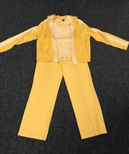 ST. JOHN Tank Jacket Pants Yellow White Stripes Wool Blend Sz L Sz 8 DD2966
