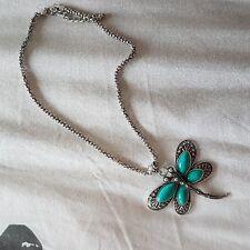 collana farfalla  libellula strass turchese, collana donna con pendente farfalla