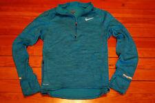 Men's Nike Thermal Waffle DriFit Reflective Aqua Blue Zip Running Shirt (Small)