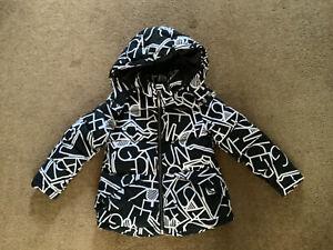 Girls Benetton Black & White Print Padded Hooded Jacket Aged 6-7 Years