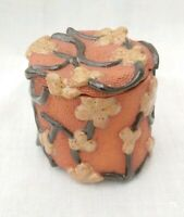 Studio Art Pottery Trinket Box Pin Glazed Terracotta Signed Unusual Ceramic Pot