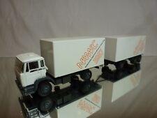 LION CAR 75 74 DAF 1900 TRUCK + TRAILER - NAMAC 1987 - WHITE 1:50 - GOOD