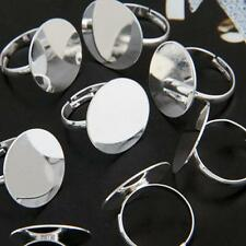 """10/Sets Silver Plated Round Adjustable Ring Blanks Base DIY 0.8"""" Lots"""
