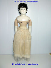 "Beautiful China Head, Arms & Legs 19"" Doll on Cloth Body"