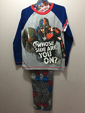 BNWT Boys Sz 10 Licenced Captain America Civil War Long Winter PJ Pyjamas Set