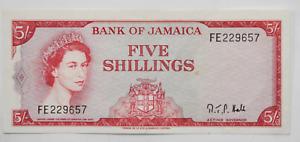 1964 Jamaica 5 Shillings Five FE229657 AU Note