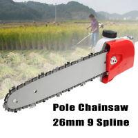 26mm 9 Spline Pole Chainsaw Saw Tree Cutter Gearbox Gear Head Tool +Chain+Guide